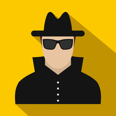 Man in black sunglasses and black hat flat icon