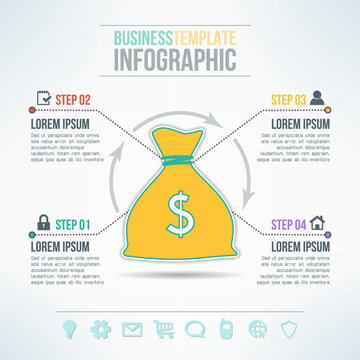 Vector money bag infographic template with icons set suitable for business presentations, reports, statistic layout