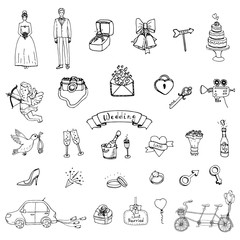 Hand drawn doodle Wedding collection Vector illustration Sketchy Marriage icons Big set of icons for Wedding day, love and romantic events Bride Groom Heart Cupid Engagement ring