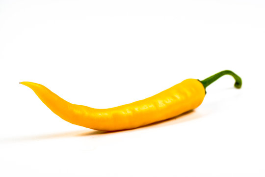 yellow hot chili pepper on a white background