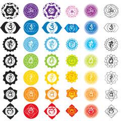 Chakras icons . Concept of chakras used in Hinduism, Buddhism and Ayurveda. For design, associated with yoga and India. Sahasrara, Ajna, Vissudha, Anahata, Manipura, Svadhisthana, Muladhara