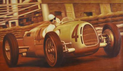Oldtimer Gemälde Autorennen Motorsport Rennszene retro