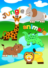 Cute jungle animals standing along a river