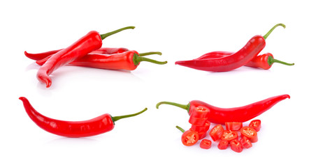 red chili on white background