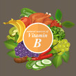 Groups of healthy fruit, vegetables, meat, fish and dairy products containing specific vitamins. Vitamin B.