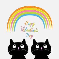 Happy Valentines Day. Love card. Rainbow and pink heart rain with two cute cartoon cats. Flat design style.