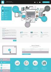 Modern one page website design template. Vector Design.