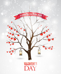 Valentine's day greeting card with tree, lanterns and hearts.