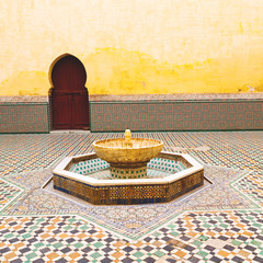 fountain in morocco africa old antique construction  mousque pal