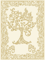 Decorative tree of life with floral frame