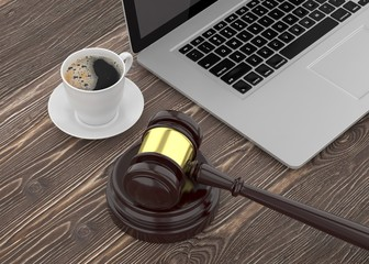 Gavel, laptop and coffee