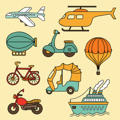Vector collection of icon with transport