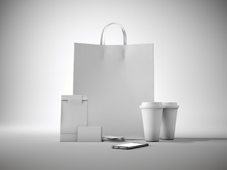 Set of white craft shopping bag, two coffee cups, business cards and generic design smartphone. Light background. 3d render