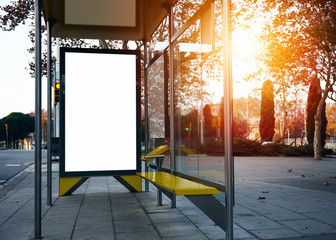 Empty lightbox on the bus stop. Visual effects Wall mural