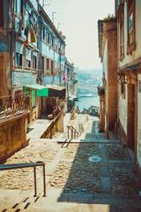 Street leading to the Douro river in Porto.