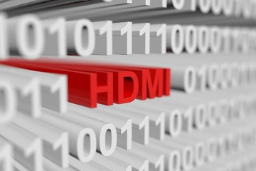 HDMI is represented as a binary code with blurred background