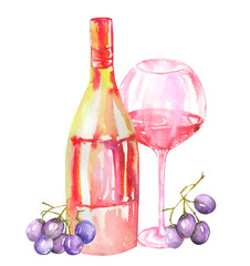 Image of the isolated watercolor red wine (champagne) bottle, blue (violet) grape and glass of the red wine. Painted hand-drawn in a watercolor on a white background.