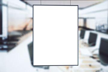Blank white picture frame at conference room background, mock up