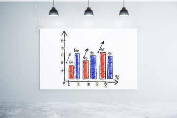 Business chart on white poster on the wall in empty room with co