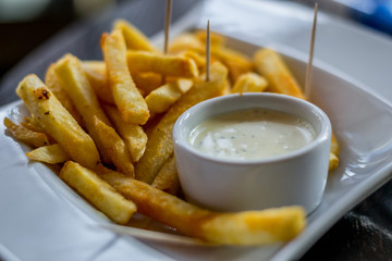 french fries on the plate