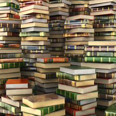 3d render of big pile of colorful books on full screen.
