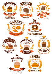 Bakery and pastry badges or emblems