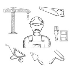 Builder and construction industry sketched icons