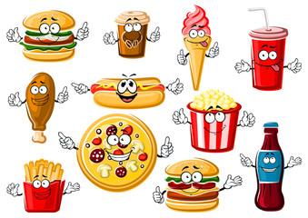 Cartoon fast food, desserts and drinks