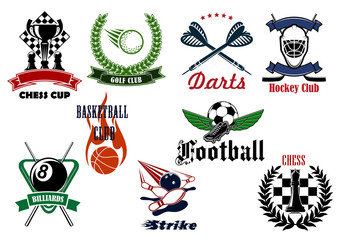 Heraldic sport emblems and icons with items