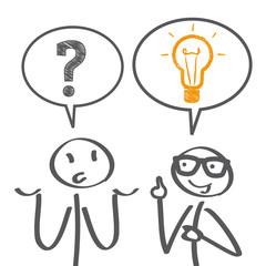 Beratungsgespräch, Symbole Fragezeichen Glühbirne