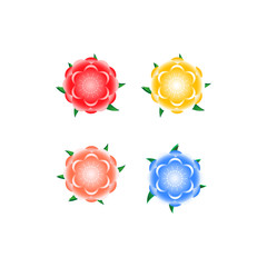 Colorful Flower : Red, Orange, Blue, Yellow. Vector Illustration
