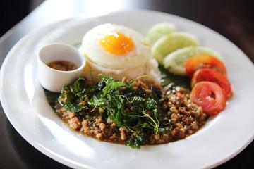 Rice with stir fried pork and basil