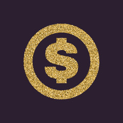 The dollar icon. Cash and money, wealth, payment symbol. Gold sparkles and glitter