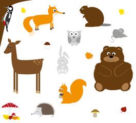 dzikie leśne zwierzęta - zastaw , prosta ilustracja na białym tle