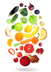 Falling fresh color fruits and vegetables