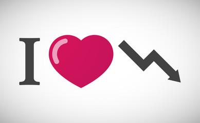 """I love"" hieroglyph with a descending graph"