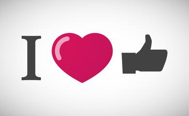 """I love"" hieroglyph with a thumb up hand"