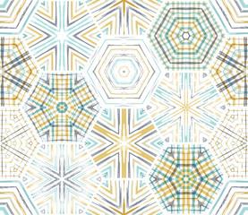 Seamless ethnic textile hexagons pattern.