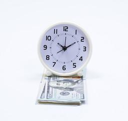 Dollar banknote and clock