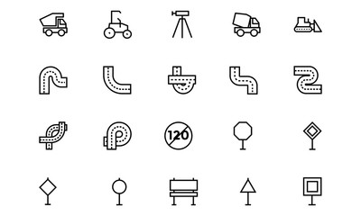 Road Outline Vector Icons 6