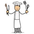 Cartoon Koch in Arbeitskleidung mit Werkzeug