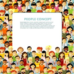 Modern multicultural society concept with seamless people background in flat style