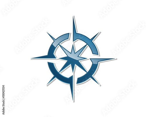 blue star compass rose logo template stock image and royalty free