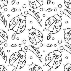 Seamless vector pattern with insects, chaotic black and white background with ladybugs and leaves on the white backdrop.