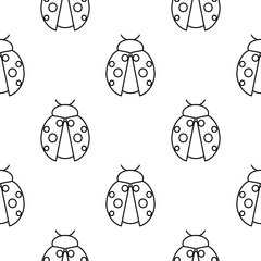Seamless vector pattern with insects, symmetrical  black and white background with ladybugs.