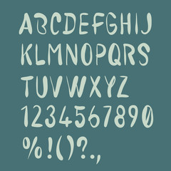 Hand drawn brush alphabet. Uppercase, numbers, punctuation. Handwritten font.