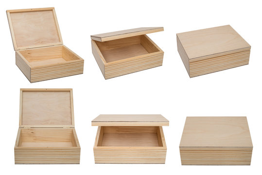 Raw wooden box for small items isolated on white background.  Different views.