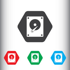 HDD icon. Hard disk drive symbol for web and mobile