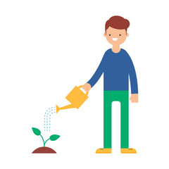 A man watering a plant vector illustration