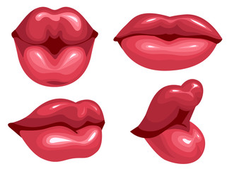 Set female lips kiss